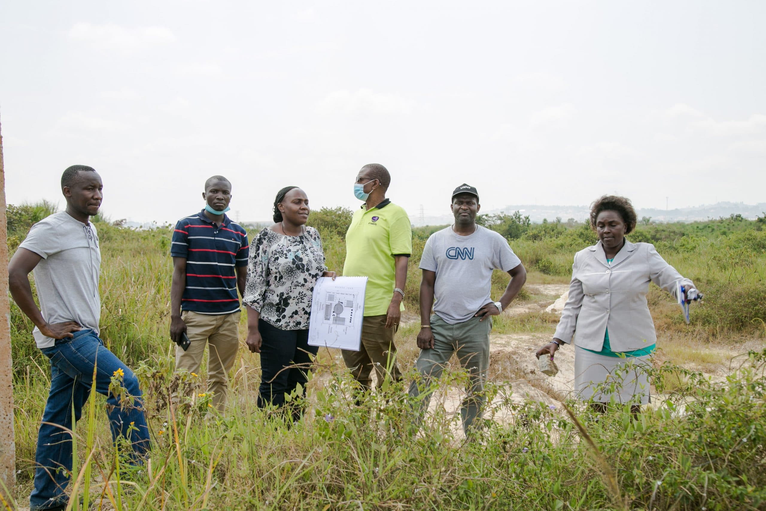 Members of the 18th Board visit the proposed site for the Engineers Tower at Namanve Industrial Park.